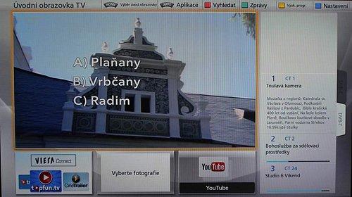 """U My Home Screen (v češtině """"Moje úvodní stránka"""") máte několik předpřipravených obrazovek jako například tu na snímku. A také jednu zcela prázdnou, kterou si můžete kompletně nadefinovat podle svého. Zvolit si ale můžete i klasické zobrazení, takže televizor ukáže kanál rovnou na celé obrazovce."""