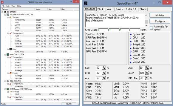 Na tomto obrázku vidíte vedle sebe okna programů HWMonitor a SpeedFan
