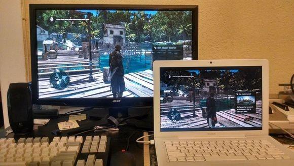 Hrajeme Assassin´s Creed IV: Black Flag na obstarožním MacBooku z roku 2006. Využíváme přitom možnosti streamování, která je součástí produktu Steam, a herní počítač, který zajišťuje vlastní hratelnost této hry