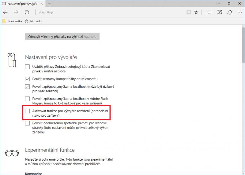 Stránka flags v internetovém prohlížeči Microsoft Edge