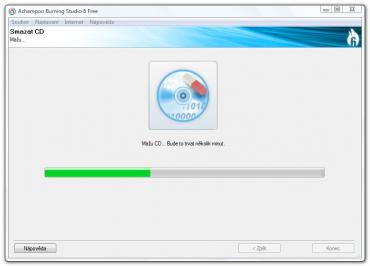 <p>Proces mazání doplňuje pěkná animace disku s gumou</p>
