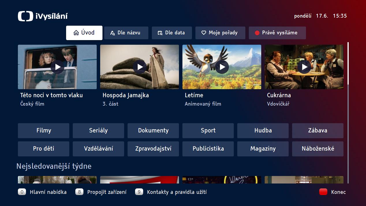 HbbTV iVysílání České televize 2019