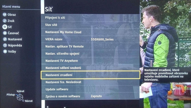 Panasonic TX-DX600 - menu nastavení