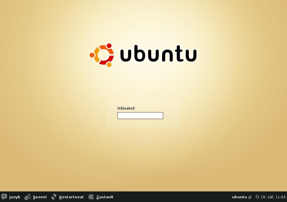 Ubuntu 4.10 - přihlašovací obrazovka