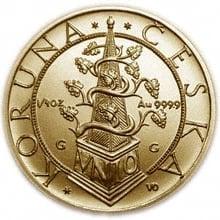"""Zlatá mince """"Koruna česká"""" vydaná v roce 1995 Českou národní bankou."""
