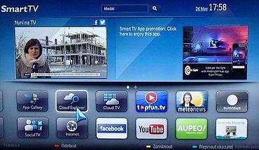 Část zvaná Smart TV je přehledně uspořádaná a výborně se ovládá. Třeba i pohybem kurzoru jehož výraznou šipku vidíte na snímku.