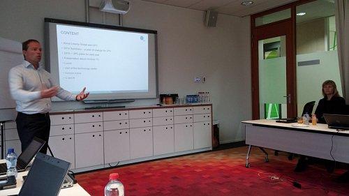 Frans-Willem de Kloet, generální ředitel společnosti UPC Česká republika, na prezentaci v centrále Liberty Global v Amsterdamu.