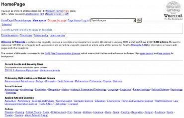 Wikipedie v roce 2001. Jednoduchý a čistý design si encyklopedie zachovává dodnes