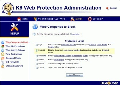 K9 Web Protection zvládá blokovat webové stránky