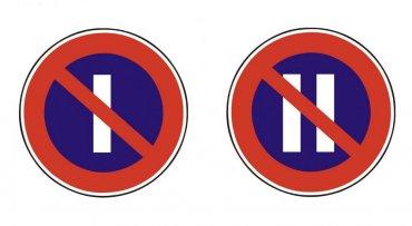 Slovenské značení: zákaz stání v lichých (vlevo) a sudých dnech