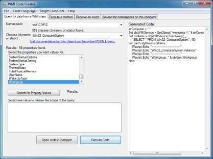 WMI Code Creator je užitečným nástrojem pro IT pracovníky