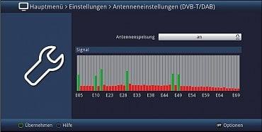 Kontrola signálů v digitálním rozhlasovém a televizním pásmu v místě příjmu, aktivní muxy se zobrazují na grafu v zelené barvě