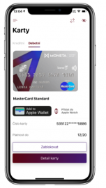 Aktivace Apple Pay přes in-app provisioning.