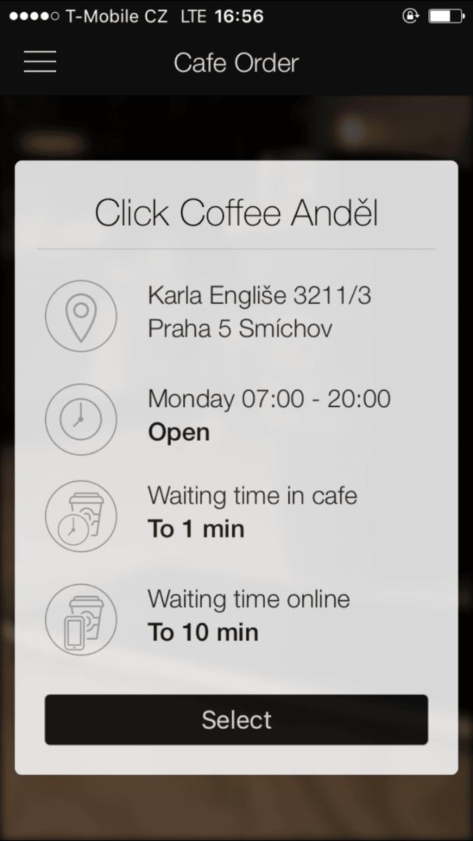 Click Coffee, objednávka kávy přes mobilní aplikaci