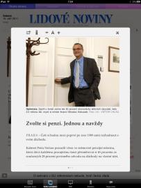 Čtení článku v Lidových novinách pro iPad (na výšku)