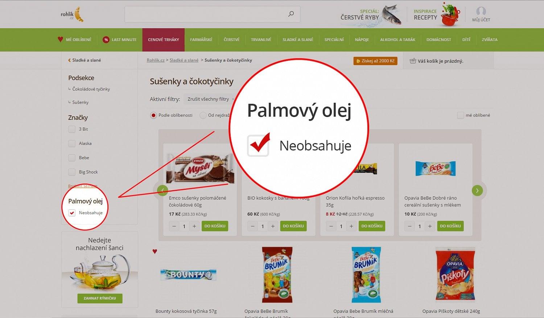 Rohlik.cz: Palmový olej zákazníci nechtějí