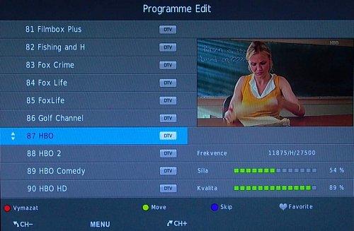Třídění kanálů je děláno výborně, ať už v DVB-T nebo v DVB-S. To druhé bývá občas komplikované i u velkých značek.