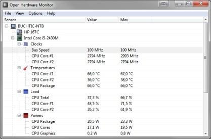 Pomocí Open Hardware Monitor zjistíte informace o teplotách, frekvencích, napětí, otáčkách...