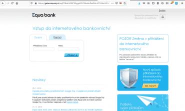 Zachycený phishing na klienty Equa bank ze dne 7. července 2020.