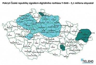 Aktuální mapa pokrytí signálem digitálního rozhlasového multiplexu T-DAB společnosti Teleko (klikněte pro zvětšení).