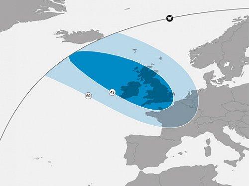 Pokrytí signálem stávajícím satelitem Astra 1N