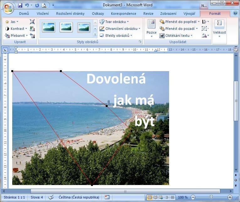 Pomocí funkce Upravit hraniční body se dá řídit tok textu okolo obrázku a přes obrázek