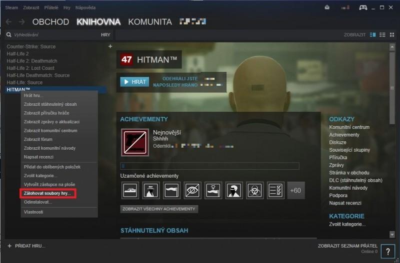 Hry na Steamu můžete zálohovat přímo v knihovně