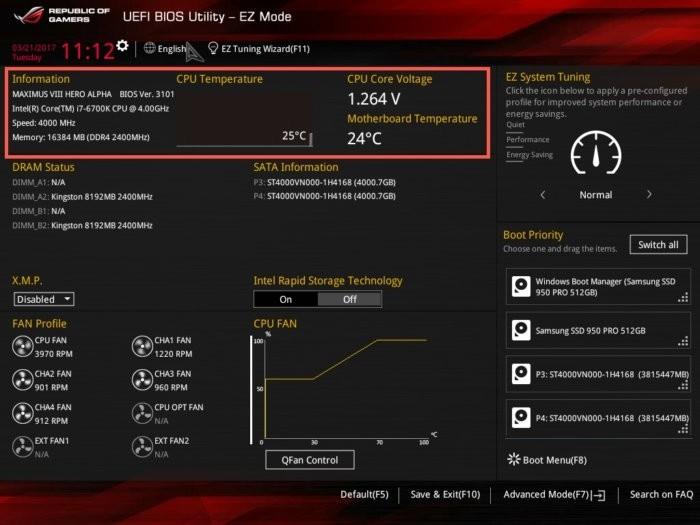 Parametry CPU v UEFI BIOS