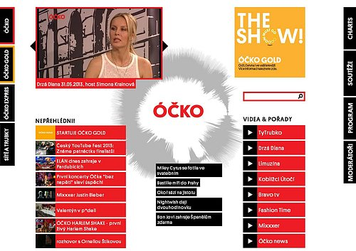 Nová podoba hlavní webové stránky hudební televize Óčko