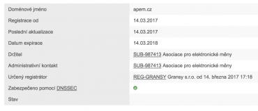 Doména Asociace pro elektronické měny je registrovnána čerstvě od 14. 3. 2017 (screenshot 15. 3. 2017)