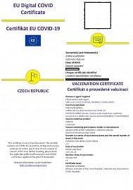 Od 1. června se pár hodin po aplikaci první dávky zobrazí evropský očkovací certifikát