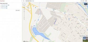 Ulice Josefa Sudka v Kolíně. Vlevo můžete zkusit změnit její název pomocí Google Map Makeru.