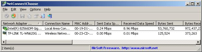 Pomocí NetConnectChoose si můžete vybrat výchozí síťový adaptér používaný pro připojení k internetu