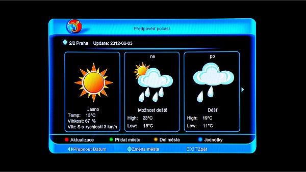 Předpověď počasí pro požadovaná místa si můžete uložit do paměti přijímače a pak stačí podle seznamu z uložených měst vybrat a okamžitě se zobrazí okno s předpovědí.