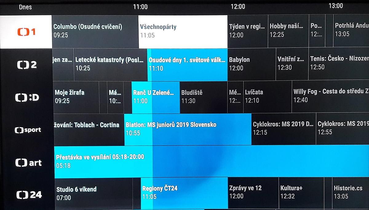 SledováníTV - Práce s programovým průvodcem a karty pořadů