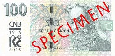 Stokorunová bankovka se speciálním přítiskem.