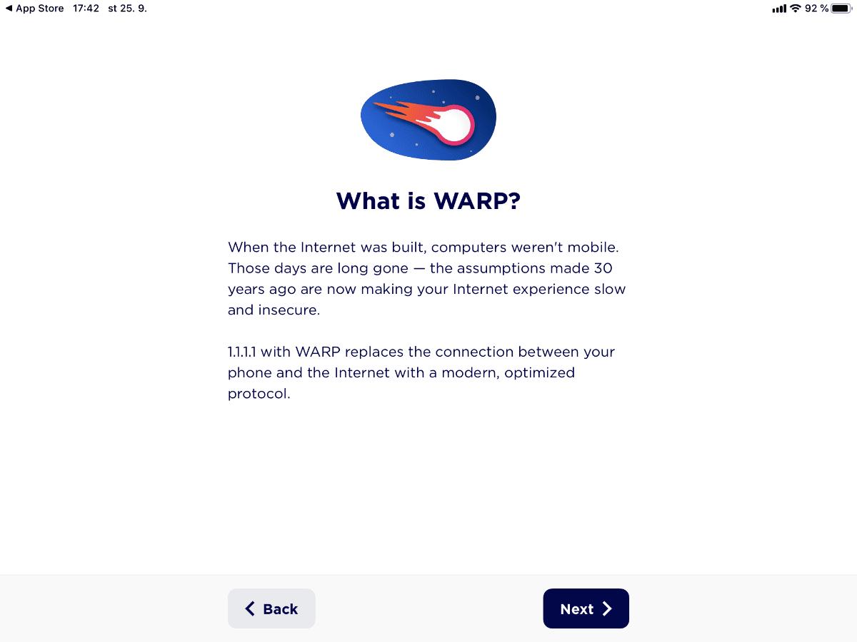 Mobilní VPN aplikace Warp od Cloudflare