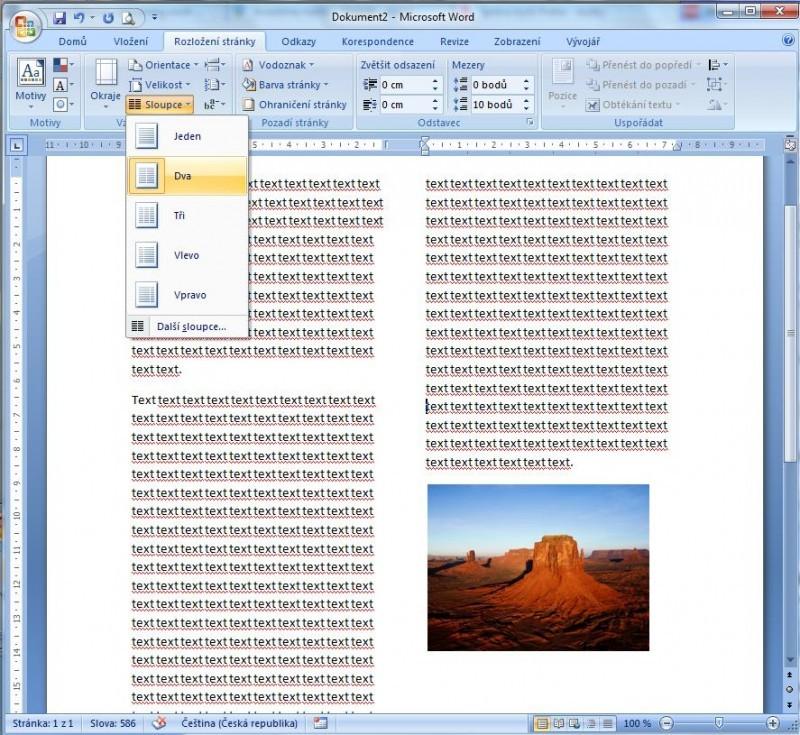 Celý dokument nebo i jen jeho část můžete naformátovat s použitím sloupců, takže bude vypadat, jako by se jednalo o článek v novinách či v časopisu.