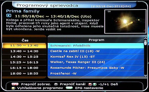 EPG je dobře propracovaný a zobrazuje se také ve dvou režimech. Pro šestici stanic najednou, nebo pro jeden program na celý den. Zde můžeme programovat nahrávky (jednou, denně, týdně) s korekci času, nebo programovat pouze upozornění na pořad o který nechceme přijít.