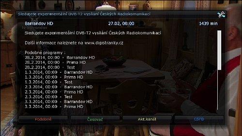 Elektronický programový průvodce DVB-T2 experimentu obsahu tyto informace.