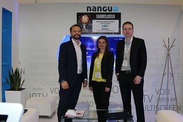 Zleva Ivo Korčák, Šárka Pekárková aZdeněkGorecký na veletrhu TV Connect vLondýně vzávěru dubna 2015. Nangu.TV se tam ve své kategorii dostalo mezi šest světových finalistů TV Connect Awards.