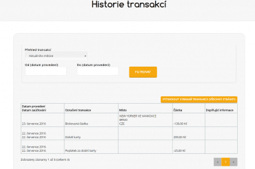 Historie transakcí.