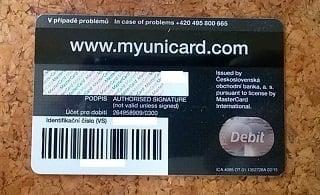Platební karta MYUNICARD.