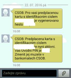 Aktivační SMS.