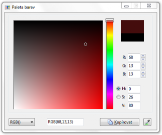 <p>Klasická paleta barev</p>