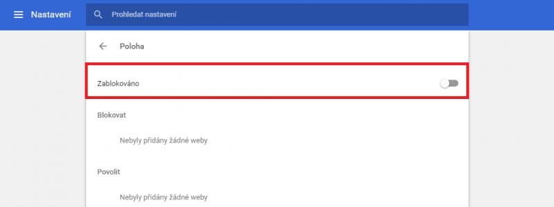 Nastavení zjišťování polohy v Google Chrome