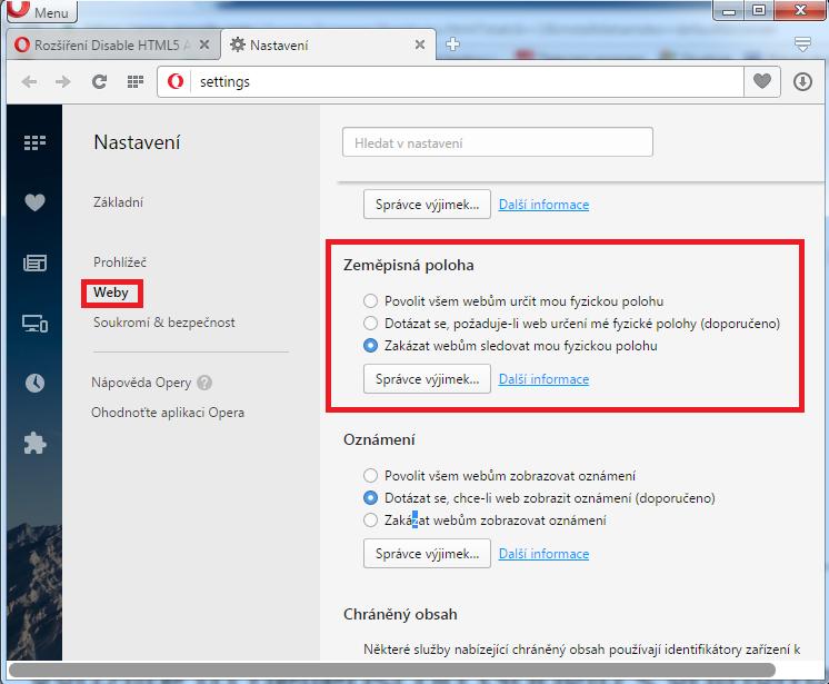 Nastavení zjišťování polohy v internetovém prohlížeči Opera