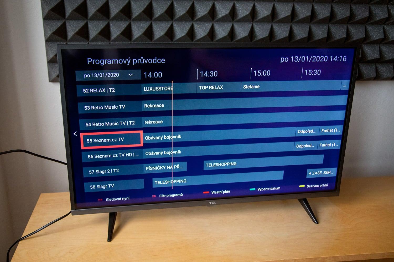 TCL 32ES580 - přepínání kanálů a informace o pořadech