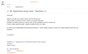 E-mail, který nás informuje o objednaném svozu a instruuje k dalšímu postupu.