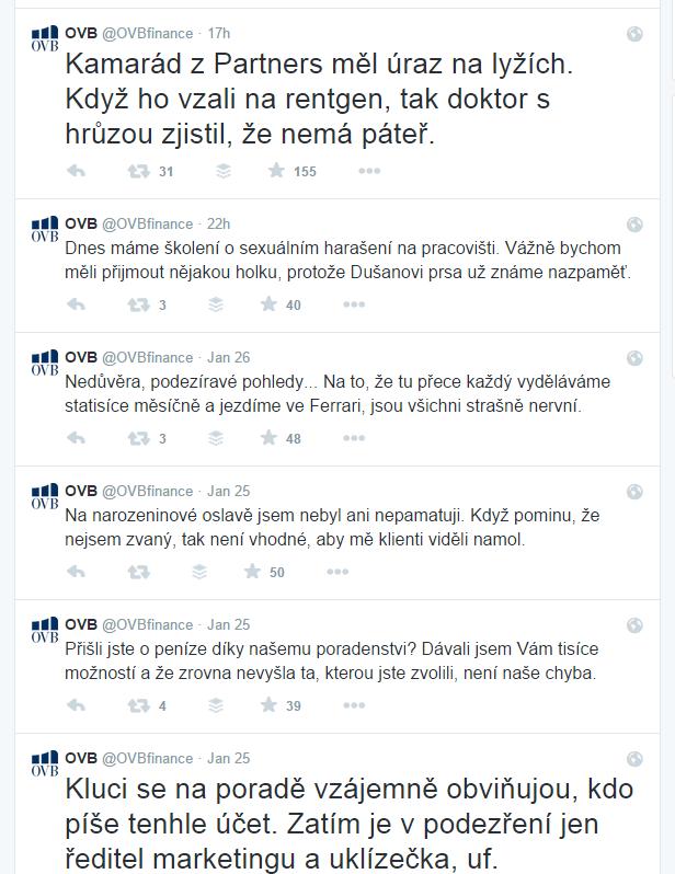 Zjevně příliš trefné tweety falešného @OVBfinance